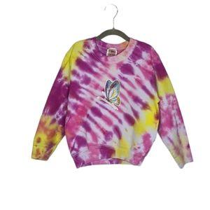 VTG Tie Dye Butterfly Custom Girls 6/8 Crewneck